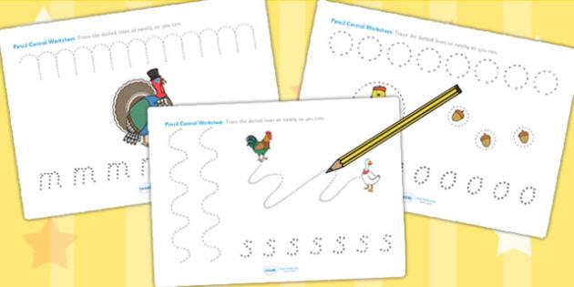 Chicken Licken Pencil Control Sheets - stories, fine motor skills