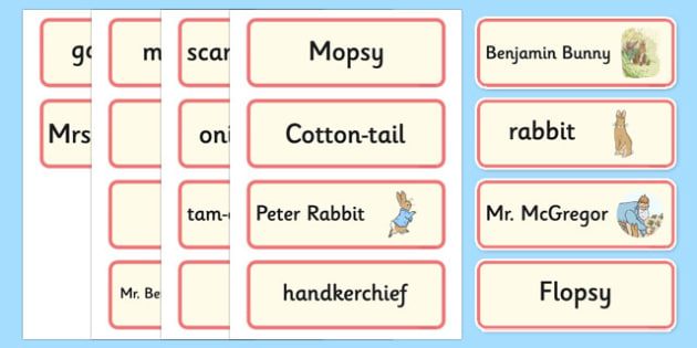 Beatrix Potter - The Tale of Benjamin Bunny Word Cards - beatrix potter, benjamin bunny