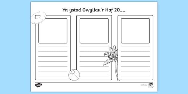 Yn ystod Gwyliau'r Haf 20 - welsh, cymraeg, holidays, writing frames, write