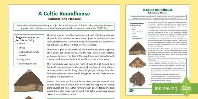 A Celtic Roundhouse Estimate and Measure Activity-Scottish - CfE, Celts, Celtic, people in past societies, history, estimate, measure, diameter, numeracy, circle