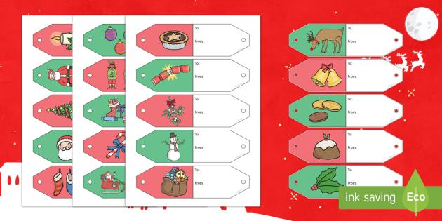 Christmas Themed Gift Tags Cut Outs - Christmas Themed Gift Tags Display, Christmas, Gift Tags, Tags, Christmas writing.