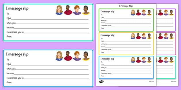 KS3 I Message Slips - relationships, SEN, behaviour, positive, negative, activity, secondary, support, independent