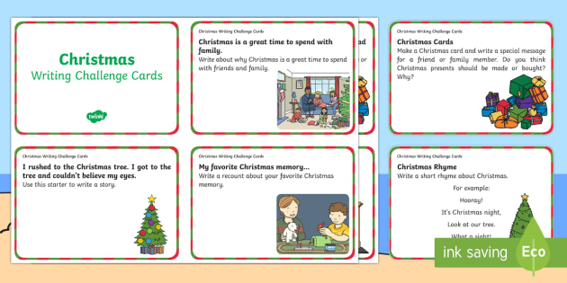 F-2 Christmas Writing Challenge Cards - Christmas, Australia