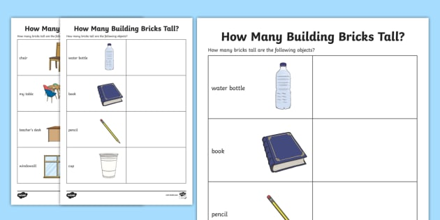 How Many Building Bricks Tall Worksheet - measuring, count, maths, lego