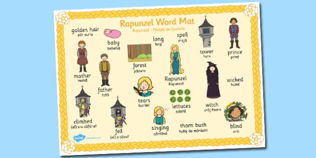 Rapunzel Word Mat Image Romanian Translation - romanian, rapunzel
