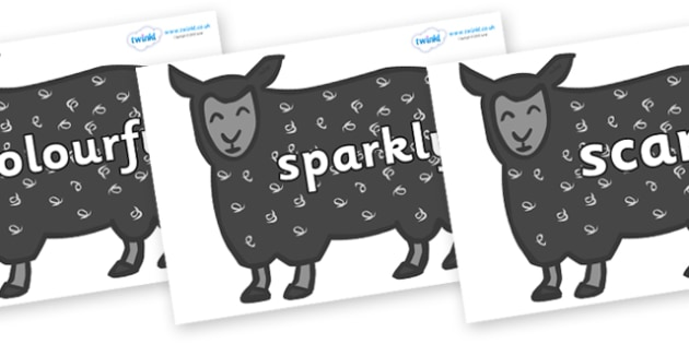 Wow Words on Black Sheep to Support Teaching on Brown Bear, Brown Bear - Wow words, adjectives, VCOP, describing, Wow, display, poster, wow display, tasty, scary, ugly, beautiful, colourful sharp, bouncy