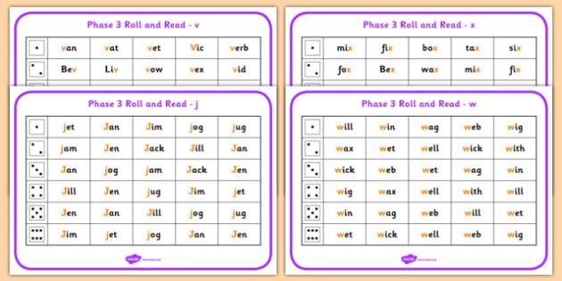 Phase 3 Letter Progression Set6 j v w x Phoneme Roll and Read Mat