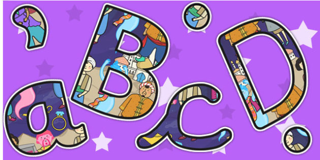 Aladdin Themed A4 Display Lettering - aladdin, lettering, stories
