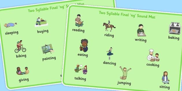 Two Syllable Final 'ng' Sound Word Mat - final ng, sound, word mat