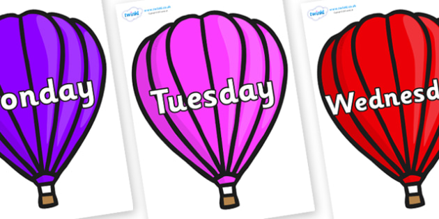 Days of the Week on Hot Air Balloons (Plain) - Days of the Week, Weeks poster, week, display, poster, frieze, Days, Day, Monday, Tuesday, Wednesday, Thursday, Friday, Saturday, Sunday