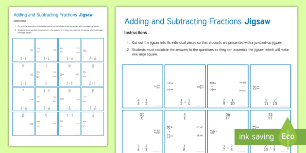 adding and subtracting fractions jigsaw worksheet  worksheet  addition adding and subtracting fractions jigsaw worksheet  worksheet  addition  add subtraction subtract