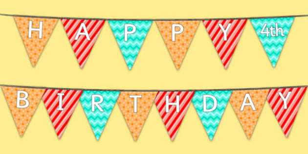 Happy 4th Birthday Bunting - 4th birthday party, 4th birthday, birthday party, bunting