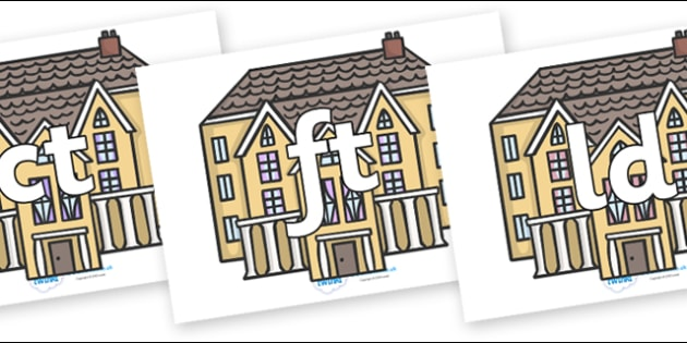 Final Letter Blends on Houses - Final Letters, final letter, letter blend, letter blends, consonant, consonants, digraph, trigraph, literacy, alphabet, letters, foundation stage literacy