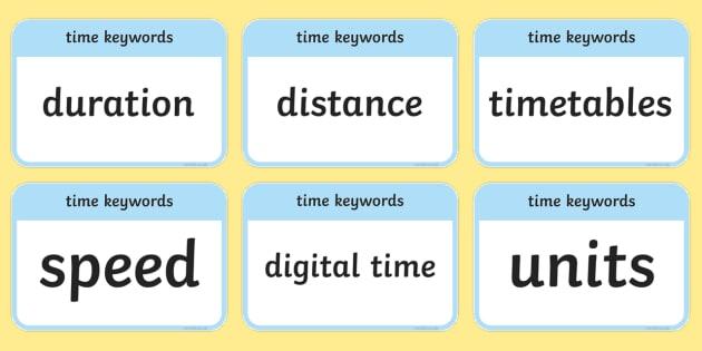 CfE Second Level Numeracy and Mathematics Time Keyword Flashcards - Wall Display, keywords, MNU 2-10a, MNU 2-10b, MNU 2-10c language of maths, vocabulary, word wall,Sco