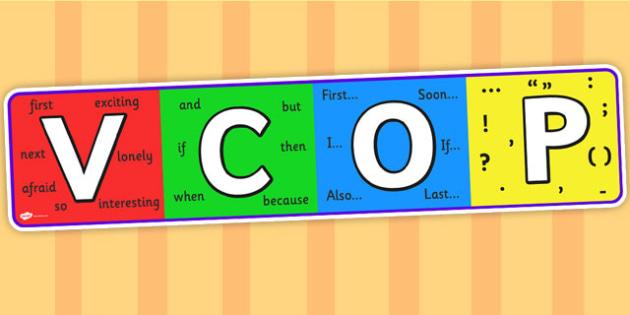 VCOP Display Banner - display banner, display, vcop, vocabulary