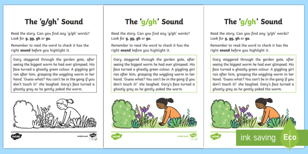 Northern Ireland Linguistic Phonics Stage 5 and 6 Phase 3b, 'g, gh' Sound Activity Sheet - Linguistic Phonics, Phase 3b, Northern Ireland, 'g', 'gh', sound, sound search, text, Workshee