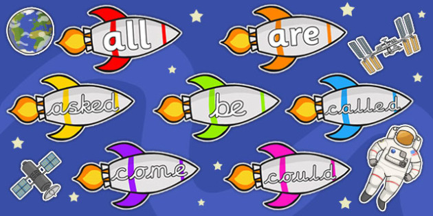 Tricky Words on Rockets - Tricky words, rockets, rocket, space, DfES Letters and Sounds, Letters and sounds, display, words