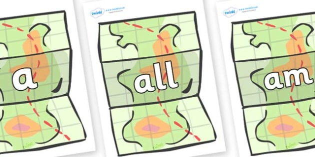 Foundation Stage 2 Keywords on Maps - FS2, CLL, keywords, Communication language and literacy,  Display, Key words, high frequency words, foundation stage literacy, DfES Letters and Sounds, Letters and Sounds, spelling