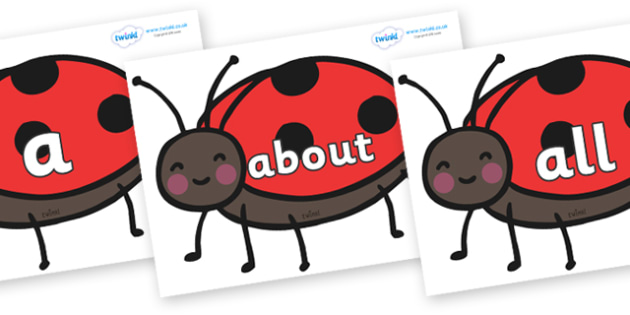 100 High Frequency Words on Ladybirds - High frequency words, hfw, DfES Letters and Sounds, Letters and Sounds, display words