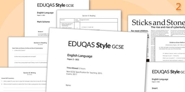 GCSE English Language Exam Paper 2 EDUQAS - gcse, english, language, exam