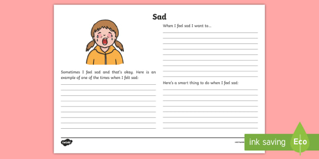 Feeling Sad Reflection Writing Template - feelings, emotions, S.P.H.E., reflection, writing template, activity sheet, actions, consequences, s
