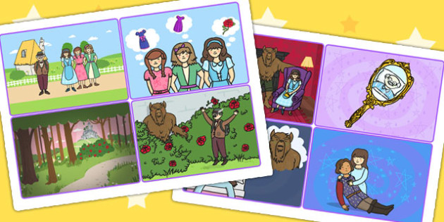 beauty and the beast story sequencing cards traditional tales