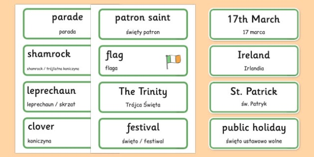 St. Patrick's Day Topic Word Cards Polish Translation - polish, Word cards, St Patricks Day, Word Card, flashcard, flashcards, Ireland, Irish, St Patrick, patron saint, leprechaun, 17 march