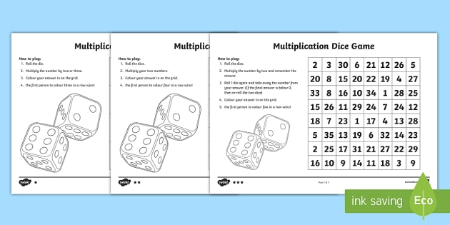 photograph about Multiplication Game Printable identify Multiplication Online games - Cube Sport Worksheet