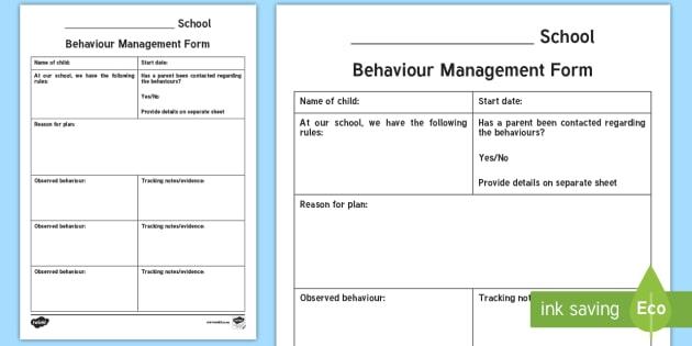 Behaviour Management Plan Template Primary Resources