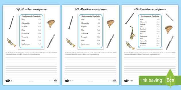 Elf Musiker musizieren Arbeitsblätter - Mathe, Rechnend