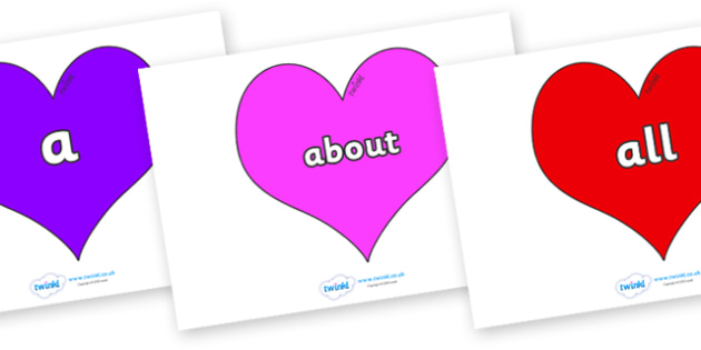 100 High Frequency Words on Hearts (Multicolour) - High frequency words, hfw, DfES Letters and Sounds, Letters and Sounds, display words