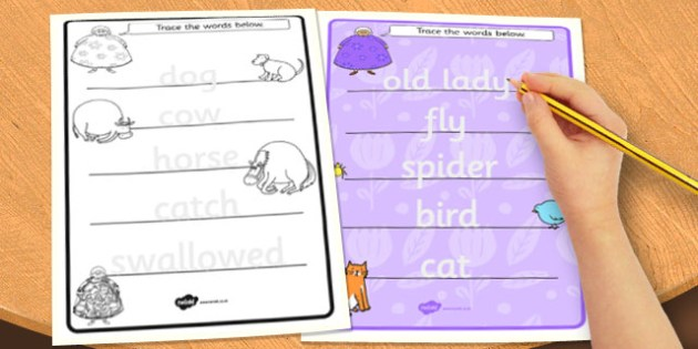 There Was an Old Lady Who Swallowed a Fly Trace Words Worksheets