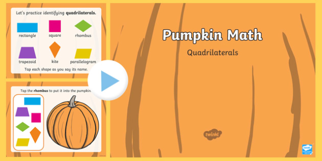 Pumpkin Math Quadrilaterals Interactive PowerPoint