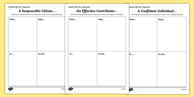 Scottish Curriculum for Excellence Four Capacities Activity Sheet Pack-Scottish, worksheet