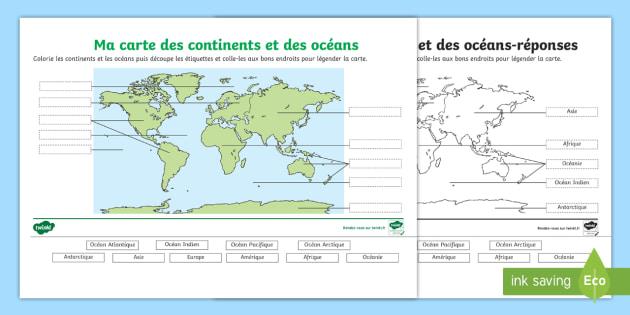 carte des continents et océans Feuille d'activités : Carte des continents et océans à légender