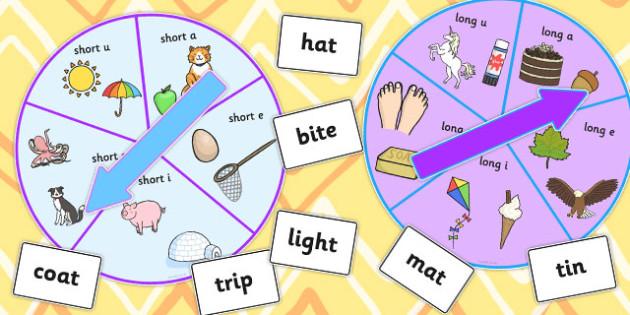Vowel Manipulation Spinner Game - games, activity, activities
