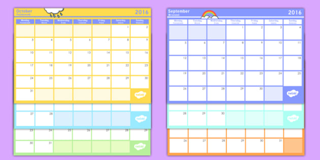 academic year monthly calendar planning template 2016 2017