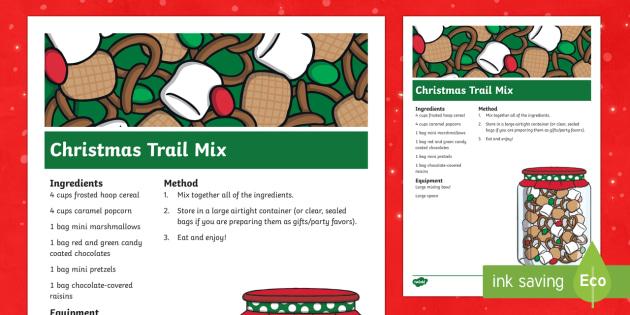 Christmas Trail Mix Classroom Recipe