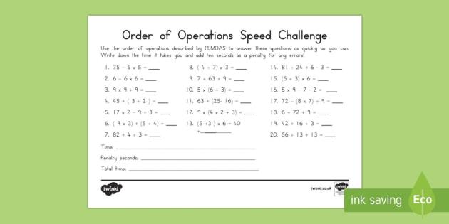 Order of Operations PEMDAS Speed Solving Activity