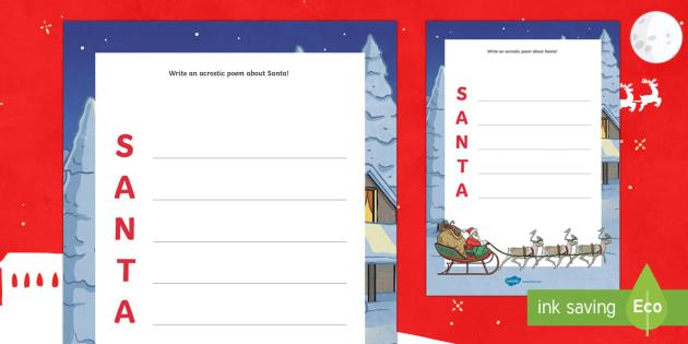 Santa Acrostic Poem Writing Worksheet / Activity Sheet