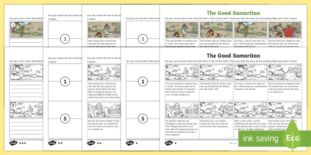 the good samaritan differentiated sequencing worksheet. Black Bedroom Furniture Sets. Home Design Ideas