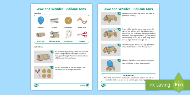 Balloon Cars Awe and Wonder Science Activity - science, activity