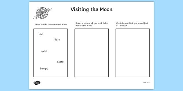 Visiting The Moon Worksheet / Activity Sheet