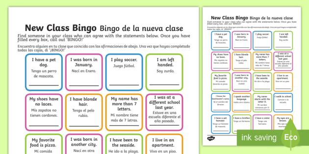 New Class Bingo Englishspanish New Class Bingo Transition