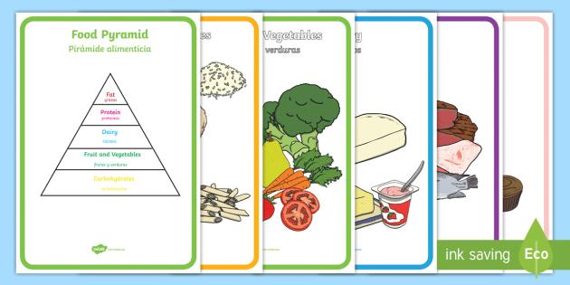 Food Pyramid Display Posters English Spanish Food Pyramid Food Groups Display
