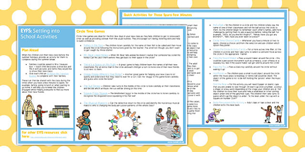 EYFS Settling into School Activities - eyfs, settling, school