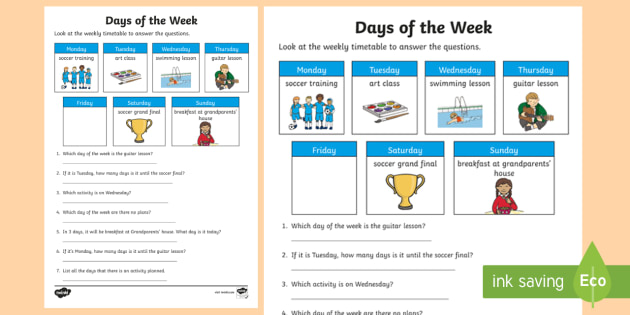 days of the week timetable worksheet worksheet mathematics year 1. Black Bedroom Furniture Sets. Home Design Ideas