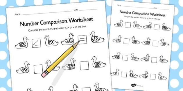 Ugly Duckling Number Comparison Worksheets - comparison, number