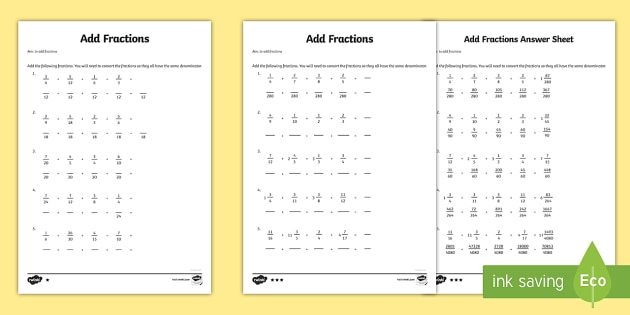 Add Fractions Worksheet 1 - Year 6 Maths - Primary Resource