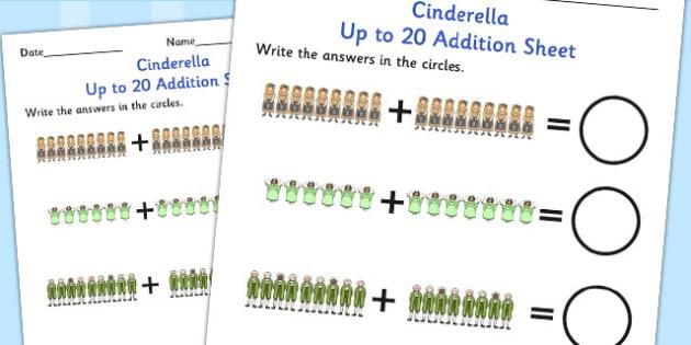 Cinderella Up to 20 Addition Sheet - cinderella, addition, 20